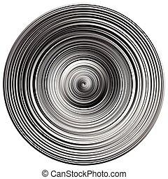 círculos concéntricos, círculos, patrón, resumen, monocromo, elemento, blanco