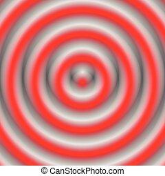 círculos concéntricos, circular, pattern., resumen, monocromo, geométrico, ilustración
