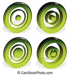 círculos concéntricos, diana, cross-hair, reticle, blanco, marca, iconos, (more, versions)