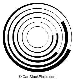 círculos concéntricos, geométrico, element., radial, irradiar, circular, graphic.