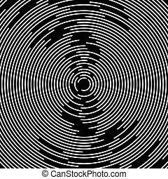círculos concéntricos, resumen, element., irradiar, radial, círculos, onda, effect.