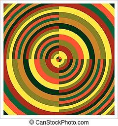círculos, concêntrico, coloridos