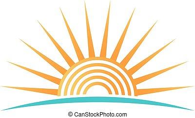círculos, concêntrico, sol