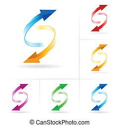 círculos, conjunto, flecha