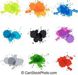 círculos, conjunto, pintado, punto, mano, acuarela, vector