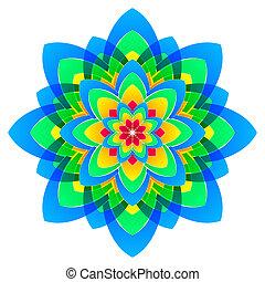 círculos, cores arco-íris, mandala, flor