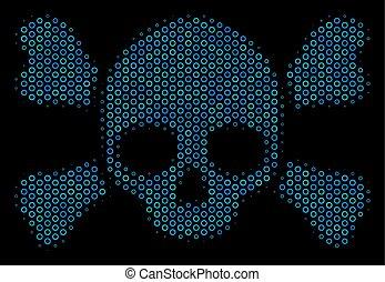 círculos, cranio, halftone, crossbones, composição, ícone