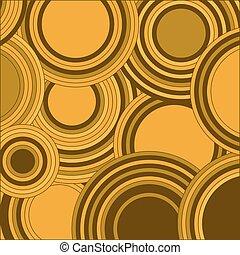 círculos, decorativo, illustration., cor, abstratos, motif., amarela, geométrico, formas, experiência., vetorial, retro, redondo