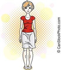 círculos, desgastar, mulher, illustration., coloridos, clothes., vetorial, posar, atraente, loiro, bolhas, senhora, casual, fundo, agradável