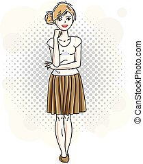 círculos, desgastar, mulher, illustration., modernos, clothes., vetorial, posar, atraente, fundo, loiro, bolhas, senhora, casual, agradável