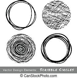 círculos, dibujado, conjunto, garabato, mano