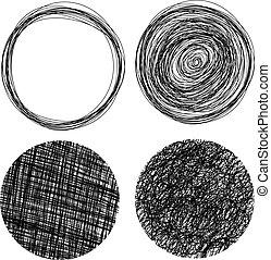 círculos, dibujado, grunge, mano