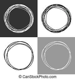 círculos, dibujado, mano