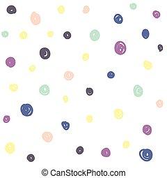 círculos, dibujado, mano, seamless, patrón