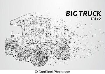 círculos, dots., grande, ilustração, particles., consiste, vetorial, caminhão, pequeno