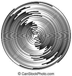 círculos, effect., abstratos, radiando, círculos, radial, ondulação, concêntrico, element.