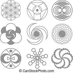 círculos, en, trigo, campos, vector, ilustración