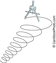 círculos, espiral, cima, esboçar, desenho, compasso, desenho