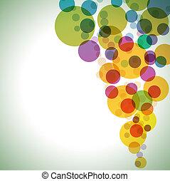círculos, experiência., vetorial, coloridos