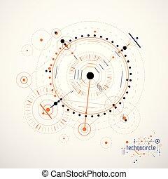 círculos, feito, técnico, abstratos, papel parede, vetorial, experiência., engenharia, lines., tecnologia, desenho