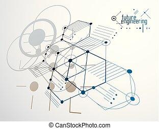círculos, feito, técnico, abstratos, papel parede, vetorial, hexágonos, experiência., engenharia, lines., tecnologia, desenho