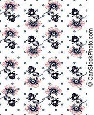 círculos, flor, rosa, papel parede, polca, seamless, vindima, padrão