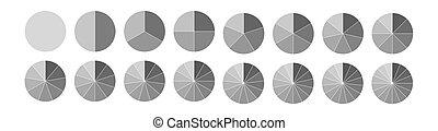 círculos, fraction., diagrams., partes, sectores, vario, ...