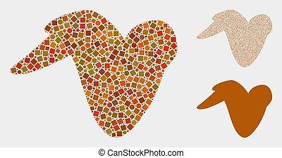 círculos, frango fritado, quadrados, mosaicos, asa, ícone