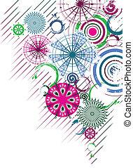 círculos, fundo, abstratos