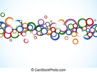 círculos, fundo, coloridos