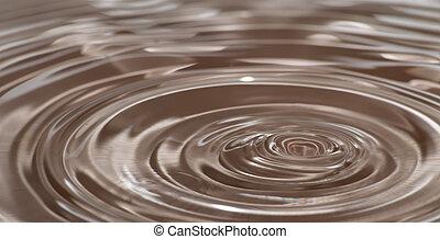 círculos, gotita, impacto, después, onda, agua