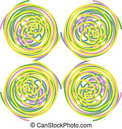 círculos, hecho, torcido, seamless, espirales, vector, colorido, azulejo