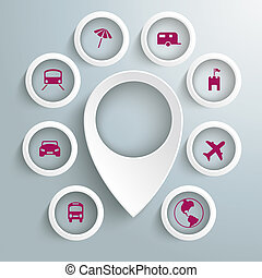 círculos, iconos, 8, viaje, marcador, piad, ubicación, ...