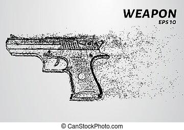 círculos, illustration., arma, arma de fuego, particles., vector, points., consiste