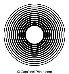 círculos, Irradiar, gráfico, radial, concéntrico,...