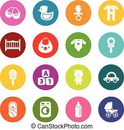 círculos, jogo, coloridos, ícones, nascido, vetorial, bebê