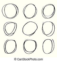 círculos, jogo, mão, fundo, desenhado, branca