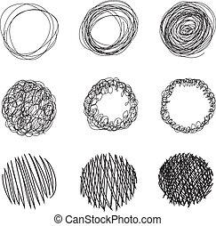 círculos, lápiz, burbujas, dibujado