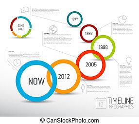 círculos, luz, infographic, plantilla, timeline, informe