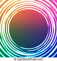círculos, luz, resumen, fondo., vector, astral