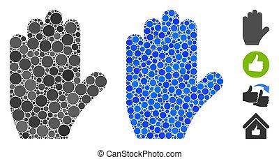 círculos, mão, votando, mosaico, ícone
