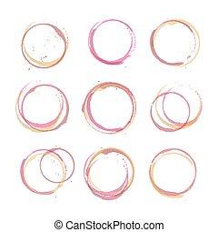 círculos, mancha, jogo, vinho