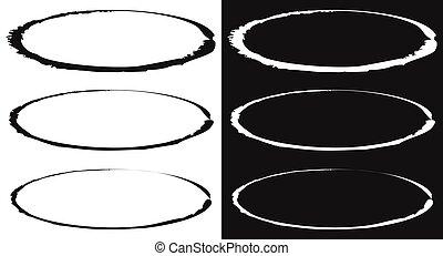 círculos, manchado, conjunto, manchado, -, efecto, elemento, pintura, grungy, círculo