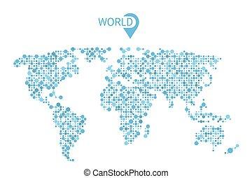 círculos, mapa, infographic, vector, mundo