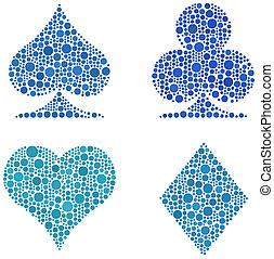 círculos, mosaico, tarjeta, señales