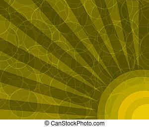 círculos, naranja, rayos, retro, plano de fondo