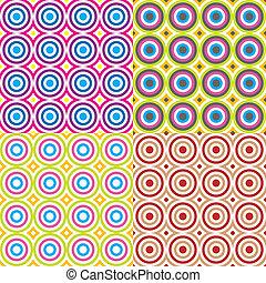 círculos, padrão, abstratos, set., vector.