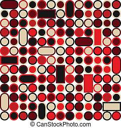círculos, padrão, quadrados, seamless