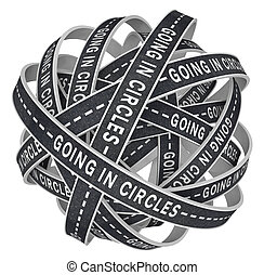 círculos, perdido, confusão, ir, estradas, infinito