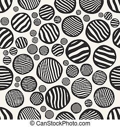 círculos, pintado, patrón, seamless, rayas, vector, negro, revoltijo, blanco, mano